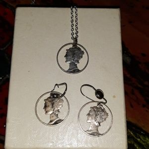 Mercury Dime Earings and Pendant